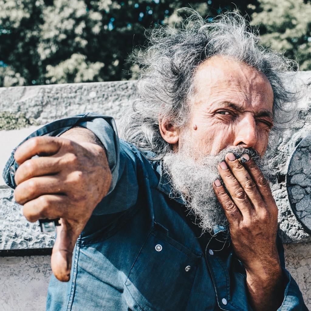 Man giving a thumbs down